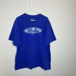 Nike Mens XXL Blue Spellout Short Sleeve Shirt